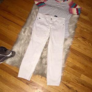 AG The Stilt Cigarette Leg White Cropped Jeans